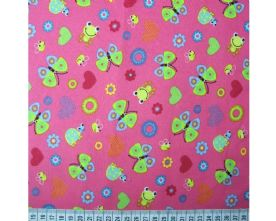 100% Cotton Frogs and Butterflies Print on Cerise Fabric x 0.5m